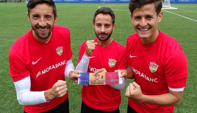 Els tres capitans de l'FC Andorra, a l'entrenament d'ahir.