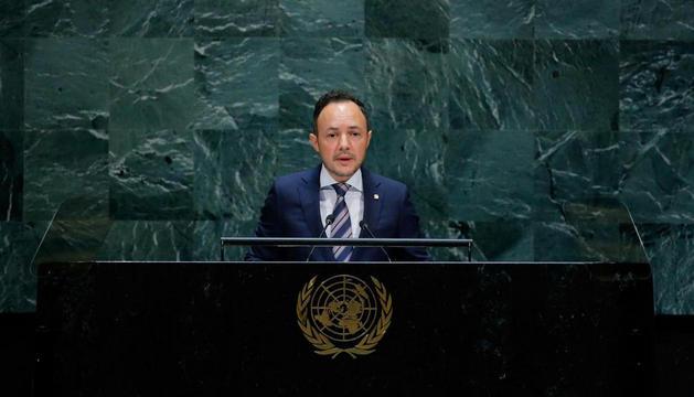 Espot durant el discurs a l'assemblea general de l'ONU.