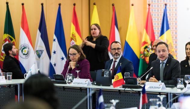 Xavier Espot durant  la inauguració de la trobada de ministres.