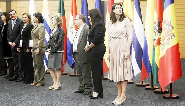 Ministres i responsables d'Afers Socials, ahir a la recepció.