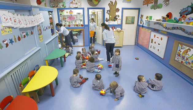 Un grup d'infants a l'escola bressol de La Massana.