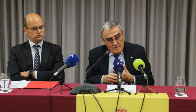 L'ambaixador d'Espanya a Andorra, Àngel Ros, durant la presentació d'aquest matí de la programació cultural de l'ambaixada