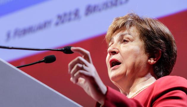 Kristalina Georgieva, ahir durant la seva intervenció.