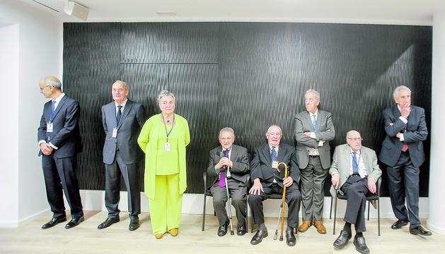 Miquel Aleix amb els antics cònsols d'Escaldes, el dia de la visita de Macron.