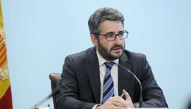 El ministre de Finances i Portaveu, Eric Jover, a la roda de premsa posterior al Consell de Ministres
