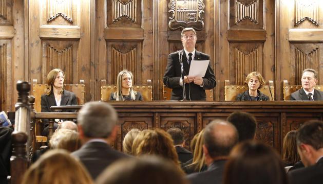 El president del CSJ, Enric Casadevall, durant la celebració de l'obertura de l'any judicial a la Casa de la Vall