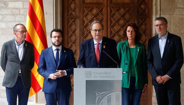 Quim Torra amb Aragonès i els alcaldes de Girona, Tarragona i Lleida.