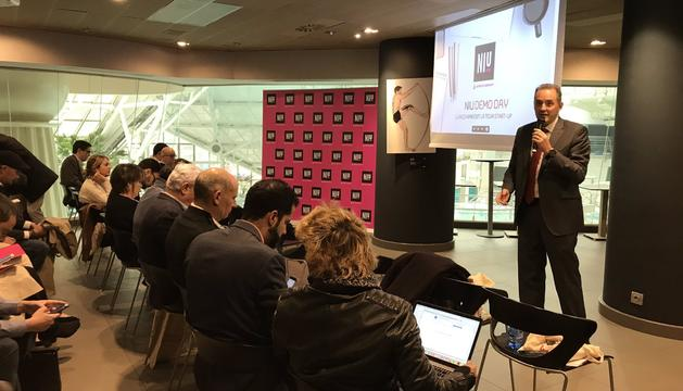 El director d'Andorra Telecom, Jordi Nadal, durant la presentació de la tercera edició del Demo Day