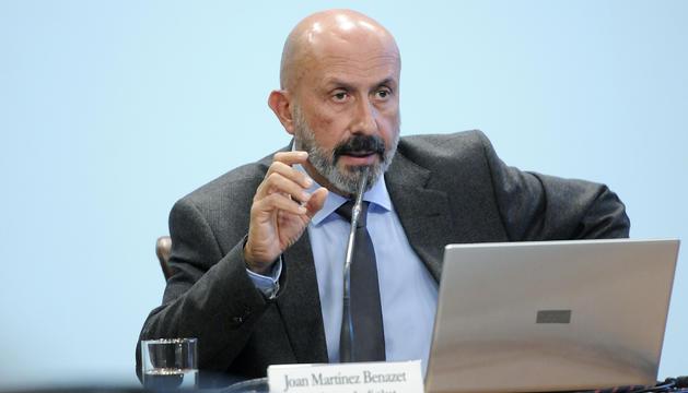 El ministre de Salut, Joan Martínez durant la roda posterior al Consell de Ministres