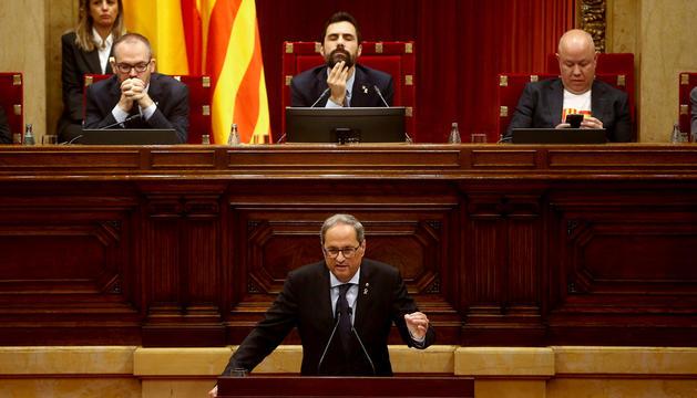 El president català, Quim Torra, durant una intervenció al Parlament.