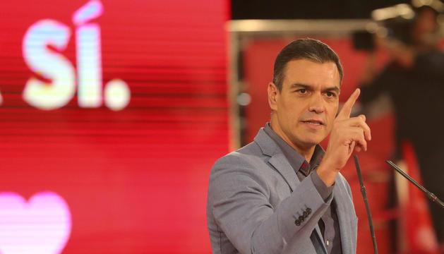 El president en funcions, Pedro Sánchez, ahir durant el míting de final de campanya, a Barcelona.