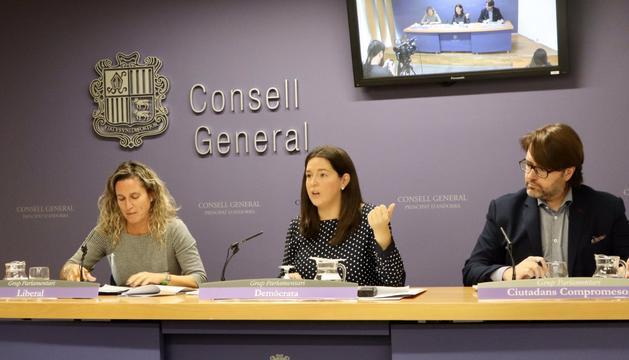 Eva López, Maria Martisella i Carles Naudi han presentat la proposició de llei