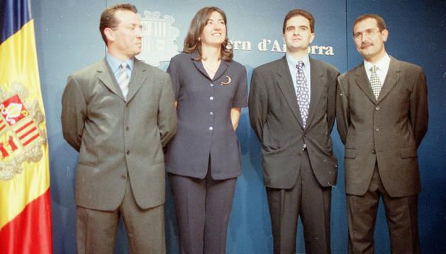 Els quatre notaris en actiu, Rodríguez, Ferrandiz, Bartumeu i Estañol, el 17 de juliol de 1998 quan van jurar el càrrec.
