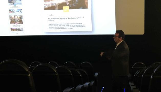 El director general d'Andorra Turisme, Betim Budzaku, durant la presentació de la campanya d'hivern