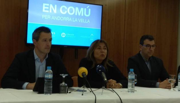 Roda de premsa de presentació d'En comú per Andorra la Vella.
