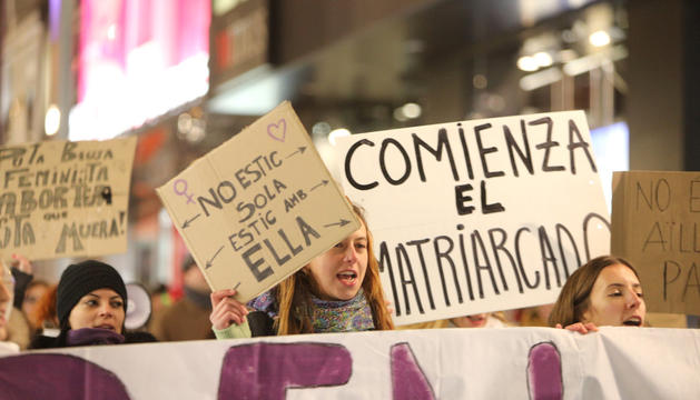 Manifestants durant la marxa.