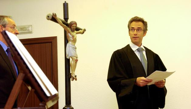 El magistrat d'Andorra al Tribunal Europeu dels Drets Humans, Pere Pastor, en jurament el 2018.