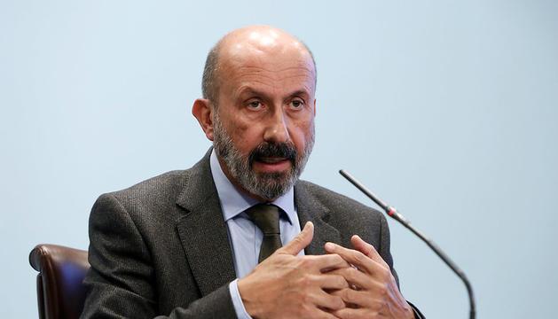 El ministre de Salut, Joan Martínez Benazet, en la roda de premsa posterior al consell de ministres