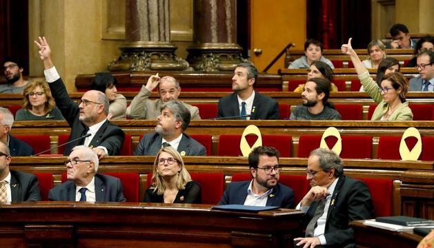 Un moment de la sessió d'ahir al Parlament de Catalunya.