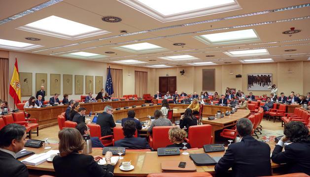 La reunió de la diputació permanent del Congrés, ahir.