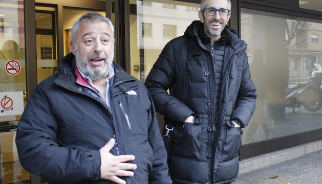 El president del sindicat, Lluís Anguita a les portes de la Seu de la Justícia aquest matí