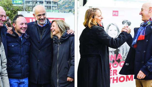 Xavier Espot i Toni Martí, abraçats, amb els candidats escaldencs. A la dreta, els candidats escaldencs del PS, Rosa Gili i Joaquim Dolsa.