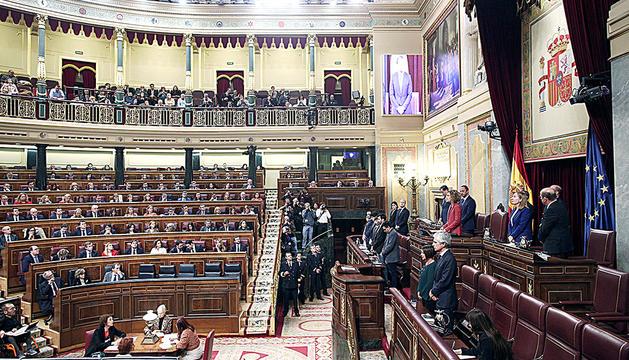 Un moment de la sessió constitutiva del Congrés dels Diputats, ahir.