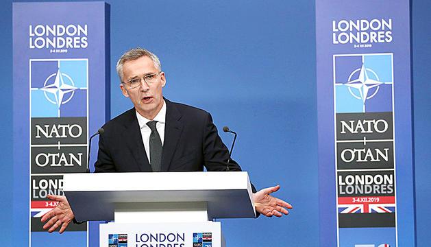 El secretari general de l'OTAN, Jens Stoltenberg, ahir després de la trobada.