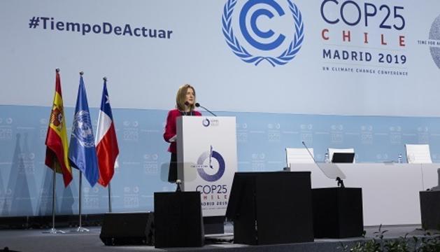 La ministra de Medi Ambient, Sílvia Calvó, durant la intervenció a la COP25