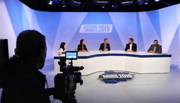 Els candidats encampadans, ahir durant el debat a Andorra Televisió.