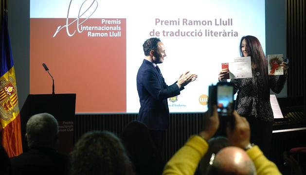 Espot durant l'acte de lliurament dels premis Ramon Llull 2019 aquest matí