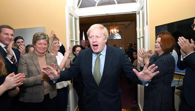 Boris Johnson després de proclamar-se guanyador a les eleccions generals.