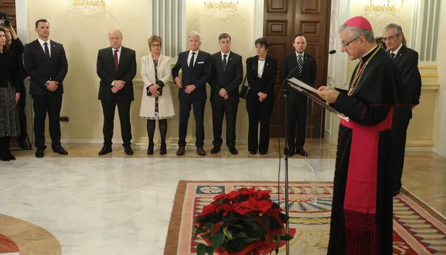Vives durant el discurs de la recepció de Nadal a la Seu