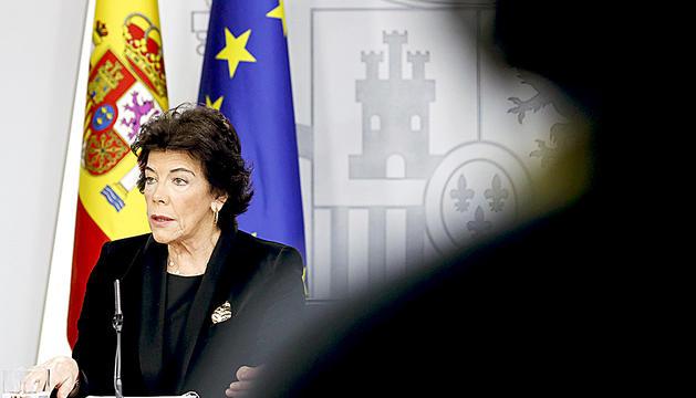 La portaveu del govern Espanyol, Isabel Celaá, a la roda de premsa posterior al Consell de Ministres.