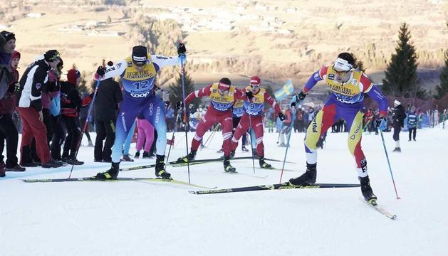 Irineu Esteve, als 10 quilòmetres patinadors d'avui a val di Fiemme.