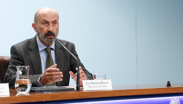 El ministre de Salut, Joan Martínez Benazet, durant la roda de premsa posterior al consell de ministres
