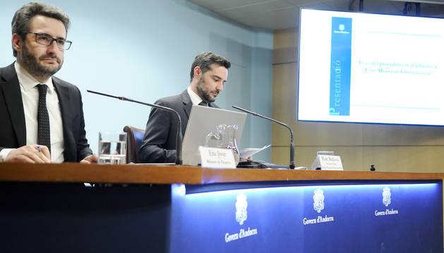 Eric Jover i Marc Ballestà han anunciat que Andorra entrarà a l'FMI