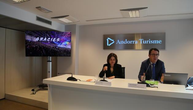 El director general d'Andorra Turisme, Betim Budzaku, i la ministra de Turisme, Verònica Canals, durant la roda de premsa