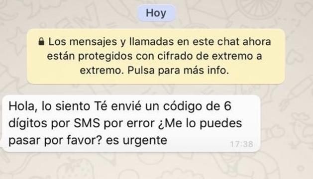 El missatge fraudulent difós per WhatsApp