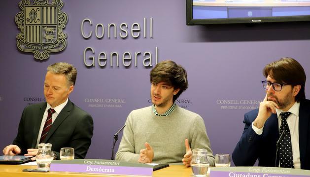 Enseñat, Costa i Naudi durant la presentació de les esmenes al Projecte de llei del Pressupost del 2020
