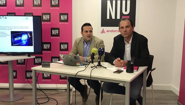Miranda i Gouarré durant la presentació de Trion Data