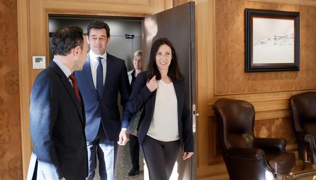 El cap de Govern rep als cónsols d'Ordino, Josep Àngel Mortés i Eva Choy