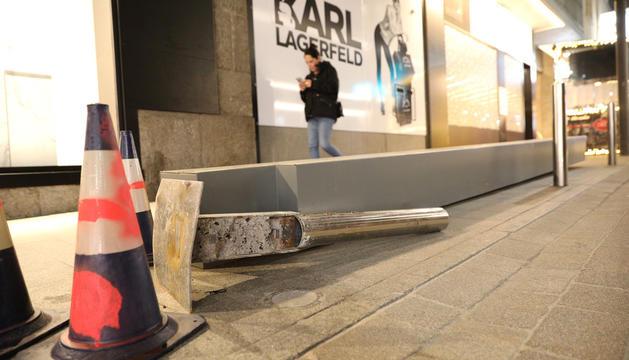 Una de les barreres, situada al carrer Isabel Sandy d'Escaldes-Engordany, ahir.
