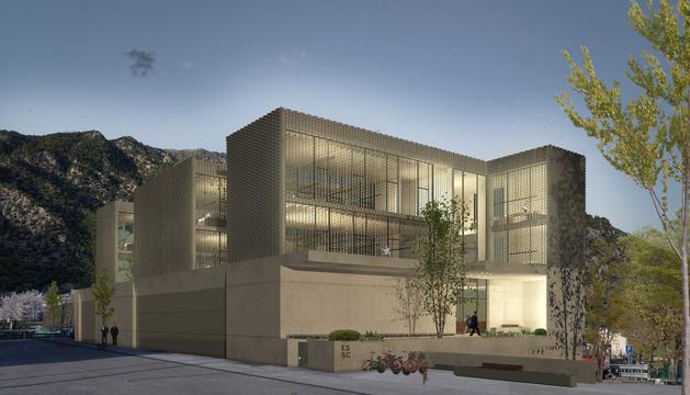 Recreació exterior de l'edifici de serveis de Santa Coloma del projecte guanyador