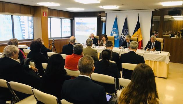 Presentació del Congrés de Neu i de Muntanya que ha fet la ministra Canals davant de l'OMT