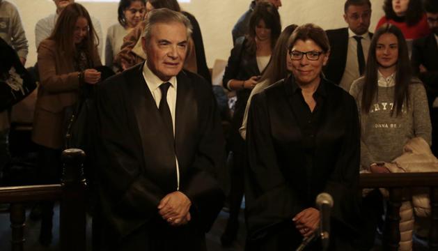 Pijuan i Ramírez durant l'acte de renovació dels càrrecs avui a la Casa de la Vall