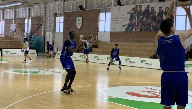 Moussa Diagne durant l'entrenament d'aquesta tarda.