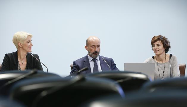 Pérez, Benazet i Vilanova durant la roda de premsa d'aquesta tarda