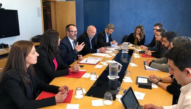Un moment de la reunió entre Filloy i El Homrani aquest matí a Barcelona