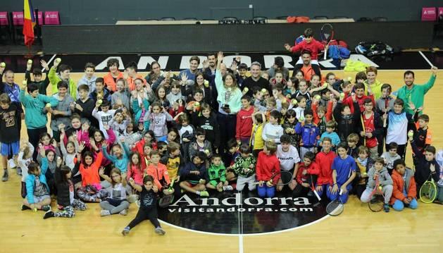 Homenatge que ha rebut la tennista Vicky Jiménez aquesta tarda al Poliesportiu d'Andorra